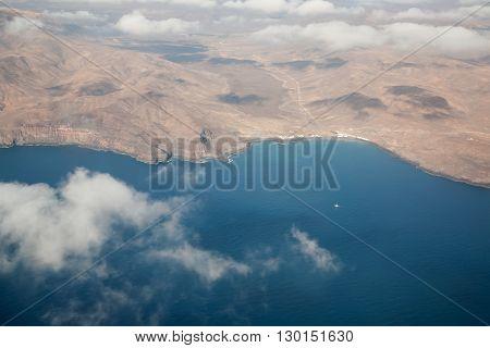 Fuerteventura Canarian Island From Plane Window View