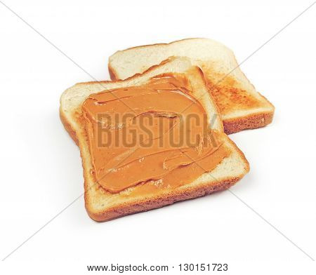 Peanut butter toast, isolated on white background