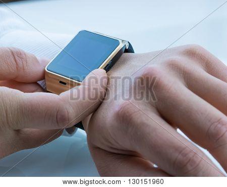 man using smartwatch app new technology concept