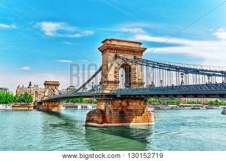 Szechenyi Chain Bridge View From Danube Side. Budapest, Hungary.