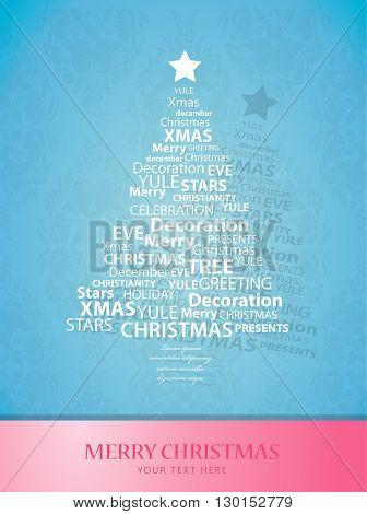 Christmas tree of Christmas words. Vector art
