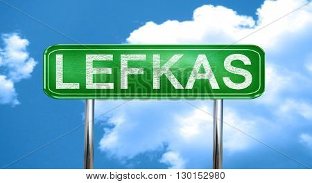 Lefkas vintage green road sign with highlights