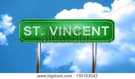 St. Vincent vintage green road sign with highlights