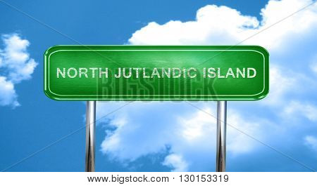 North jutlandic island vintage green road sign with highlights
