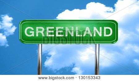 Greenland vintage green road sign with highlights