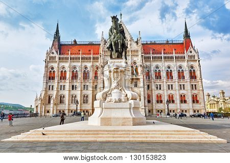 BUDAPEST, HUNGARY-MAY 02 , 2016:Hungarian Parliament in Budapest. Monument of Andrassy Gyvla-Prime Minister of Hungary(1867-1871).
