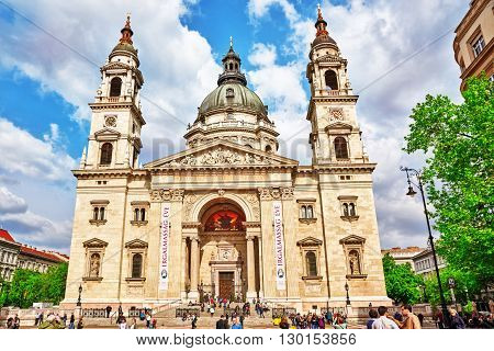 BUDAPEST, HUNGARY-MAY 02, 2016: St.Stephen Basilica in Budapest at daytime people on square near Basilica. Hungary.