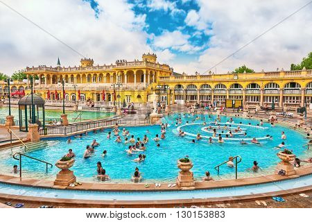 BUDAPEST, HUNGARY - MAY 02, 2016: Courtyard of Szechenyi Baths Hungarian thermal bath complex and spa treatments.