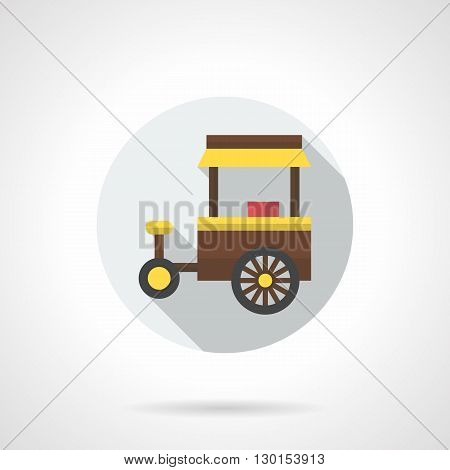 Brown tricycle trolley or cart with yellow awning. Mobile shop with fast food, hot dogs, hamburgers and drinks. Lunch outdoors. Cooking and trade concept. Round flat color style vector icon.