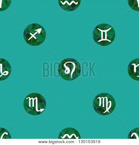 Seamless pattern with zodiac signs. Green vector seamless texture background with zodiac symbols
