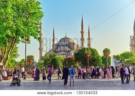 ISTANBUL, TURKEY-MAY 07, 2016: Sultan Ahmed Mosque (Blue Mosque) square with people near Mosque.Istanbul