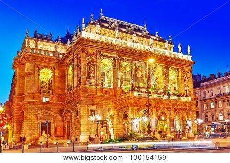 BUDAPEST , HUNGARY-MAY 05,  2016: Hungarian State Opera House is a neo-Renaissance opera house located in central Budapest on Andrassy street. Night time