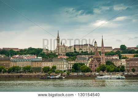 picturesque view on Budapest and its buildings from Danube, Hungary