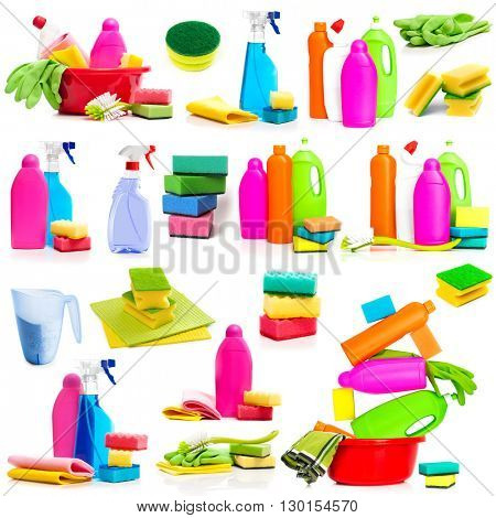 Set photos detergent and cleaning supplies isolated on a white background