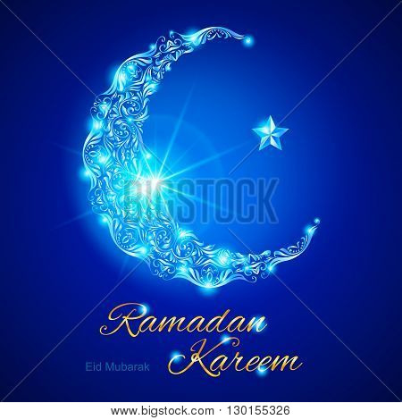 Glowing ornate crescent with bright flare and star in blue shades. Greeting card of holy Muslim month Ramadan