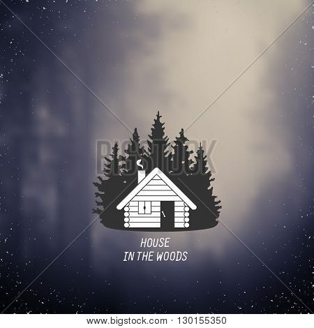 stylized line art sign with small house in the woods