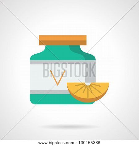 Green vitamins jar with ascorbic acid and slice orange. Healthy nutrition and lifestyle. Pharmacy and drugstore. Care of immunity and prevention vitamin deficiency. Flat color design vector icon.