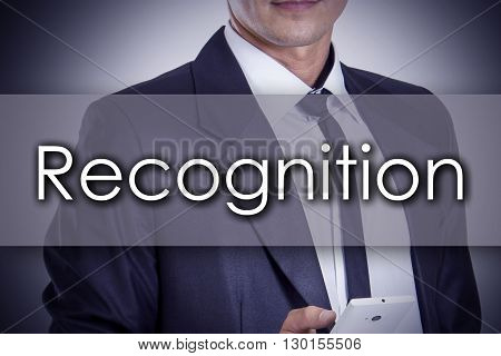 Recognition - Young Businessman With Text - Business Concept