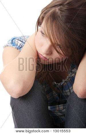 Teenage girl depression - lost love - isolated on white background