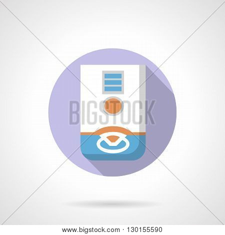 Gas heating system appliance with long shadow design. Water heating, household equipment installation. Round flat color style vector icon.