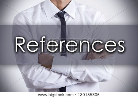 References - Young Businessman With Text - Business Concept