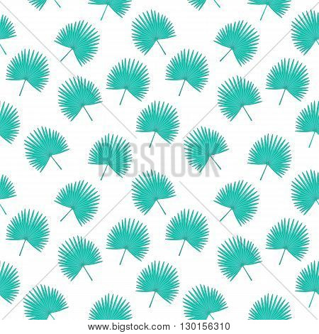 Vector Seamless Pattern With A Fan Palm Leaves. Tropical Cute Simple Background. Textile Fabric Prin