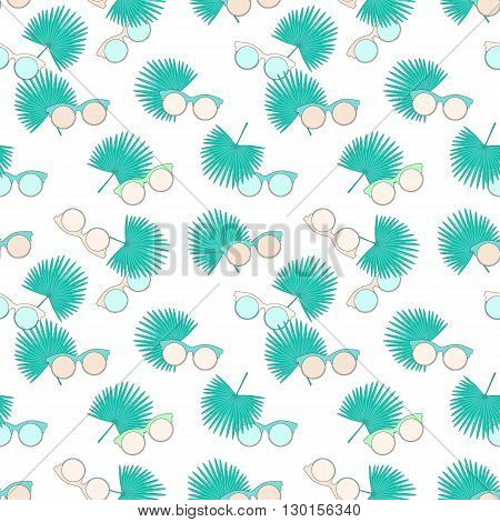 Vector Seamless Pattern With Fan Palm Leaves And Sunglasses. Tropical Simple Background. Textile Fab