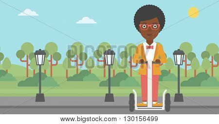 Woman riding on electric scooter.