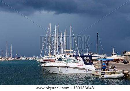 BAR MONTENEGRO - SEPTEMBER 24 2015: Unidentified man is in the port city of Bar in stormy weather in September Montenegro