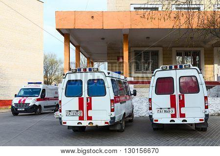 GOMEL BELARUS - APRIL 10 2016: Ambulances at the substation of ambulance number 5 Gomel Belarus