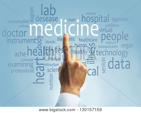Doctor hand pointing at word cloud on blue background. Medical concept