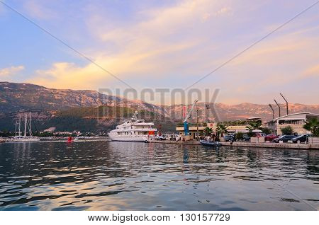 BUDVA MONTENEGRO - SEPTEMBER 15 2015: Pleasure yachts at the pier Dukley Marina on the promenade of the popular resort of Budva Montenegro