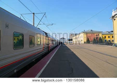 Russia, Yaroslavl-March 30.2016.  An express train standing at the station