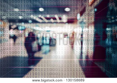 Blur abstract peoples background with binary code. Technology concept