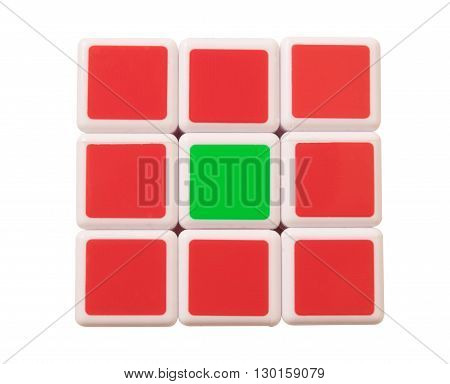 Dubai UAE- May 16 2016: Rubik's cube on a white background. Rubik's Cube invented by a Hungarian architect Erno Rubik in 1974.