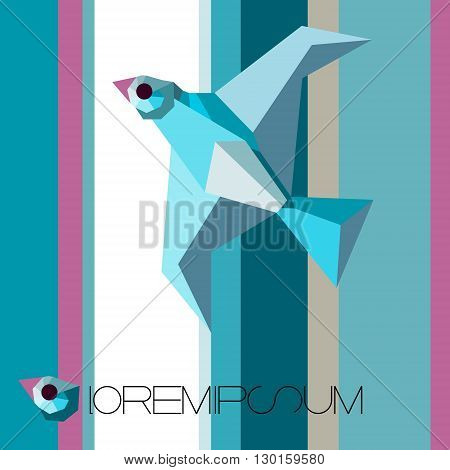 blue flying bird on a striped background. Open window and bird as symbol of freedom.