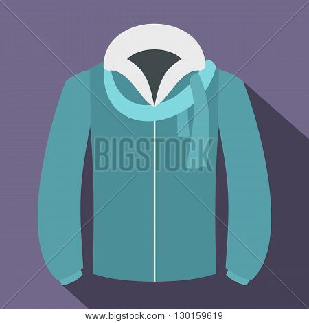 winter jacket icon in flat style with long shadows