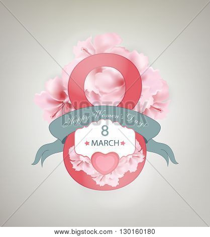 Happy Women's Day Background With Flowers Ribbon Title Inscription And Hearts