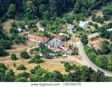 The little village surrounded by forests in Slovak republic central Europe. Travel destination. Natural way of life. Rural scene. Old houses.