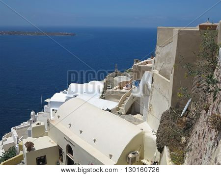 Romantic beautiful cityscape and blue sky of Oia on Santorini island in Greece.