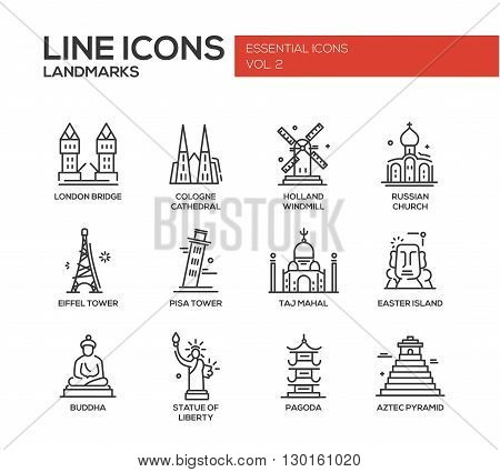 Set of modern vector plain line design icons and pictograms of world famous landmarks. London bridge, Cologne Cahedral, Holland windmill, Russian church, Eiffel tower, Pisa tower, Taj Mahal, Easter island, Buddha, Statue of Liberty, Pagoda, Aztec Pyramid