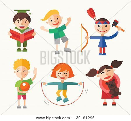 Children and their hobbies and activities - modern vector flat design characters set. Boys and girls reading, playing, skipping, having fun