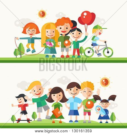 Children and their hobbies and activities - modern vector flat design characters compositions set. Boys and girls on bicycle, skate board, jumping, playing, having fun outdoors