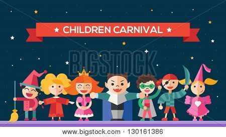 Children in holiday, party, carnival costumes - modern vector flat design website banner, header with kids characters. Boys and girls in costumes of fairy, princess, pirate, vampire, witch, super hero