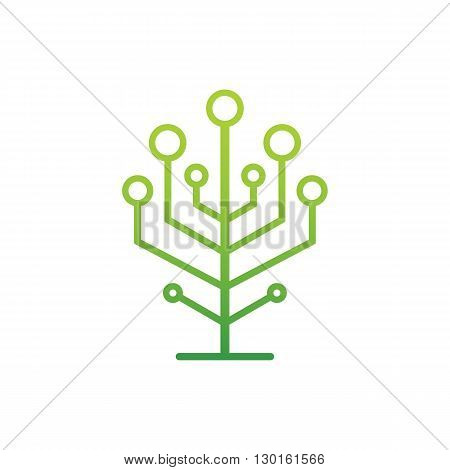 Green ecology and smart connection logo neuron tree vector illustration isolated on white background.