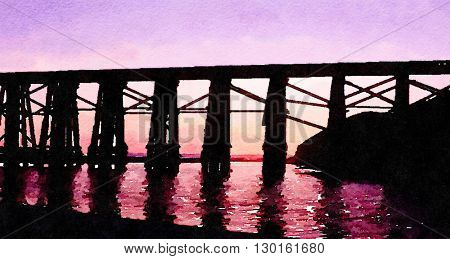 Nice Painting Of a railroad Bridge in Fort Bragg California