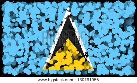 Flag of Saint Lucia painted with brush on solid background, ink texture