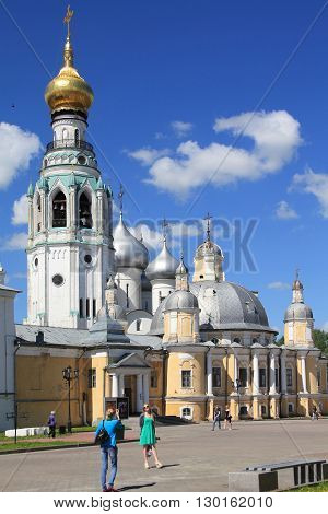 Vologda, Russia - May 27: This is part of the Kremlin Square located near the Kremlin walls the Resurrection Cathedral and the bell tower May 27, 2013 in Vologda, Russia.