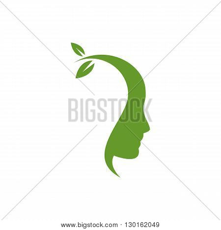 Think green ecological head with lef growing from head silhouette vector illustration isolated on white background.