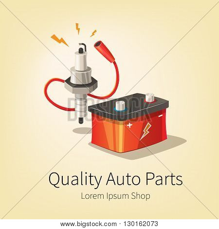 Vector illustration of auto spare parts. Battery spark plug and wire. Car repare service and parts shop banner.